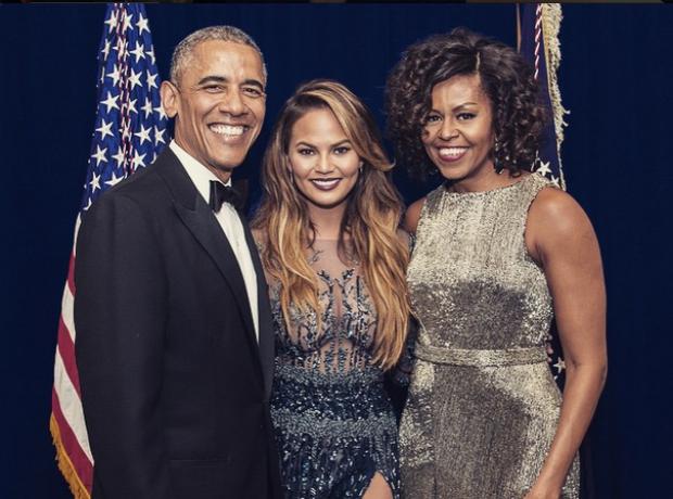 Chrissy Teigen Barack and Michelle Obama