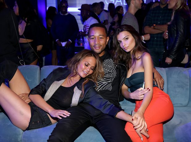 Chrissy Teigen, singer John Legend, and model Emil