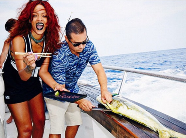 Rihanna eating fish