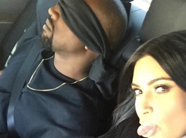 Kanye West blindfolded
