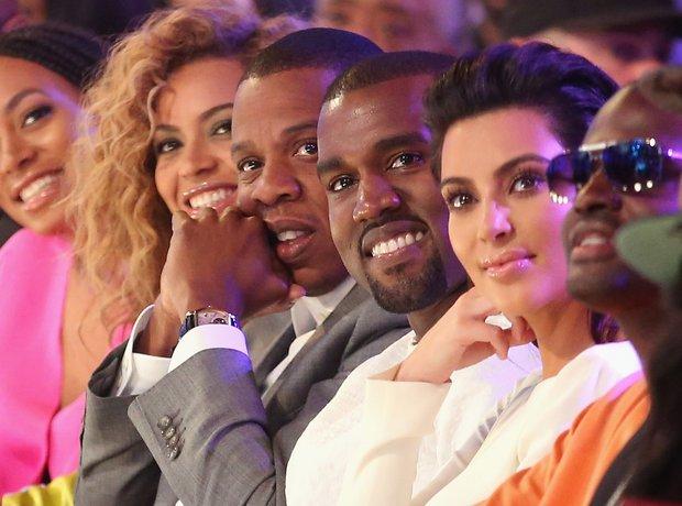 Kanye Smiling with Jay Z Beyonce Kim Kardashian