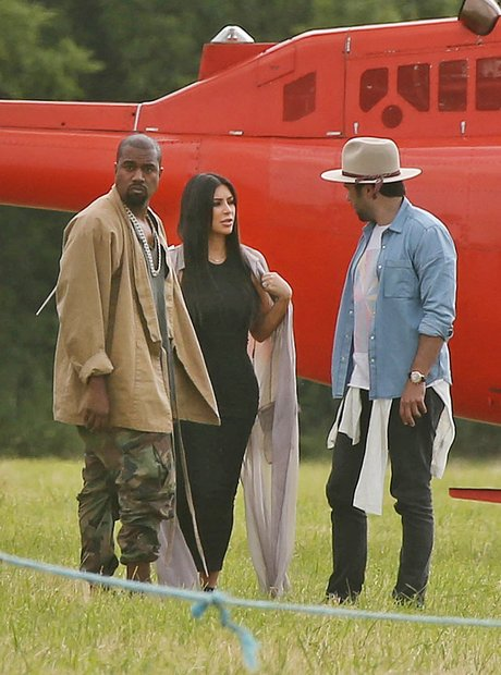 Kanye West and Kim Kardashian Glastonbury Helicopt