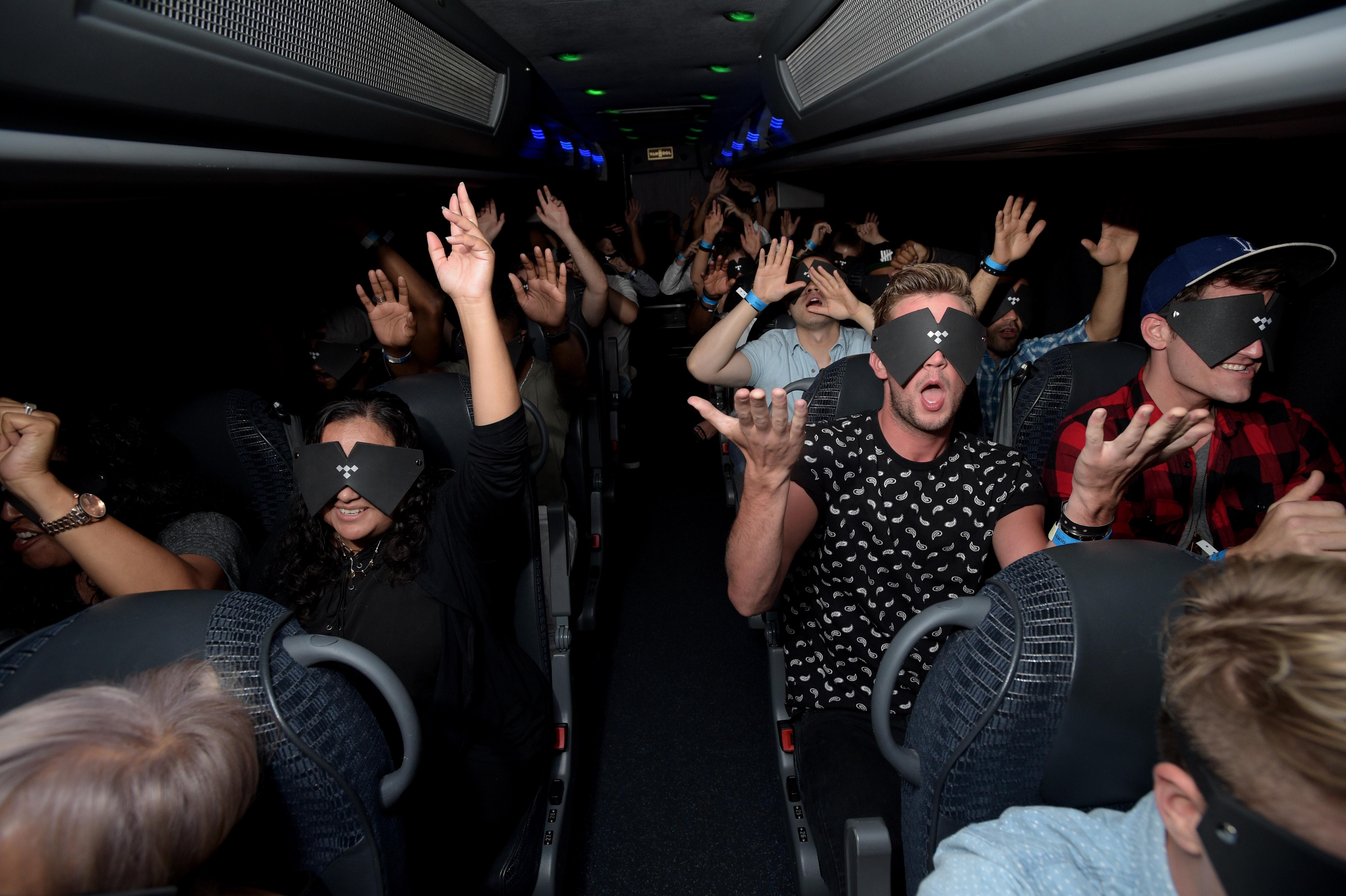 Rihanna fans on a bus