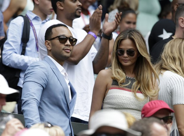 John Legend and Chrissy Teigen at Wimbledon