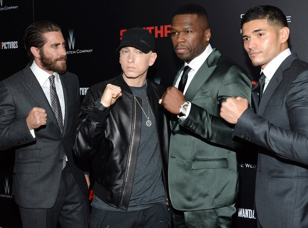Jake Gyllenhaal, from left, Eminem, Curtis Jackson