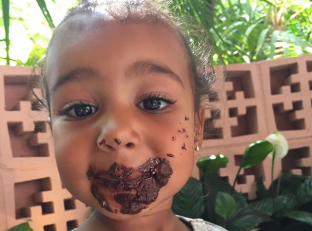 North West covered in chocolate