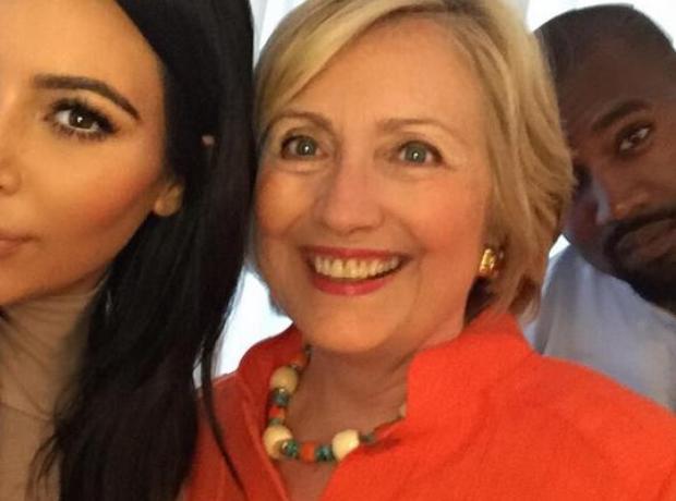 Kim Kardashian Kanye West Hilary Clinton selfie