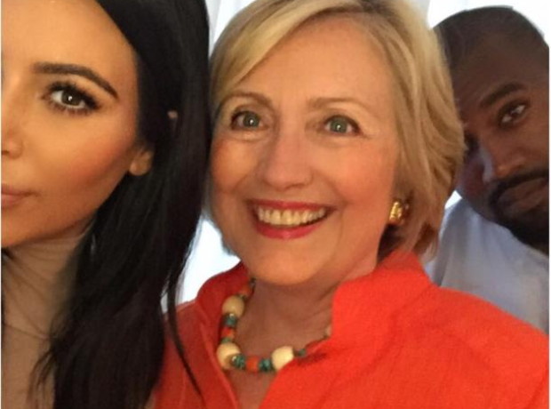 Kim Kardashian, Kanye West and Hillary Clinton