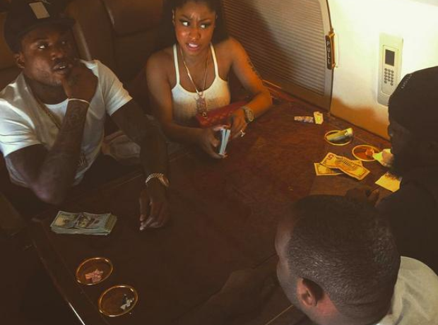 Nicki Minaj and Meek Mill playing cards