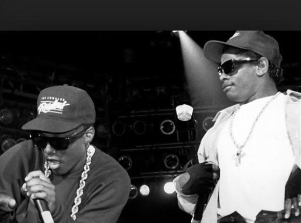 Eazy E and MC Ren on stage