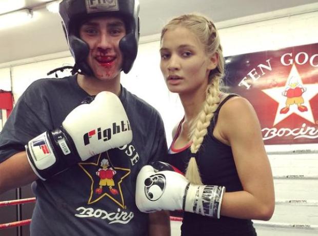 Pia Mia in boxing ring