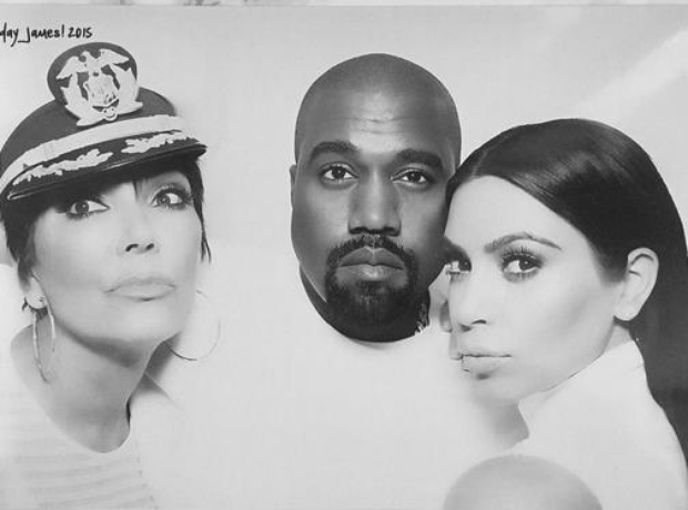 Kim Kardashian, Kanye West and Kris Jenner