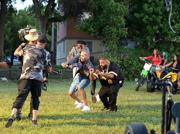 Chris Brown filming music video