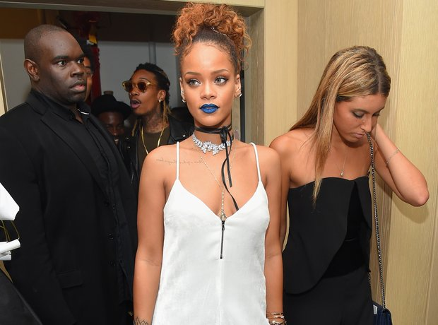 Rihanna in blue lipstick