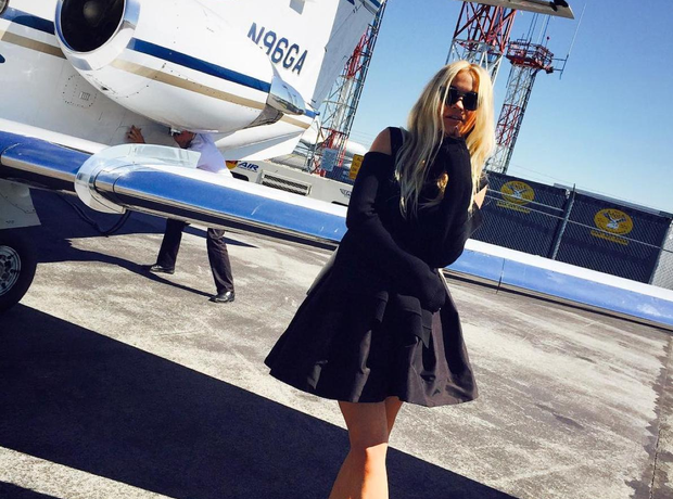 Rita Ora by a private jet