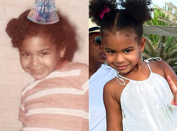 Beyonce and Blue Ivy side by side