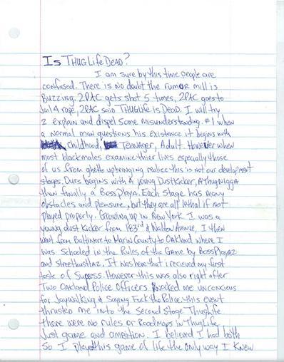 Tupac Thug Life Letter