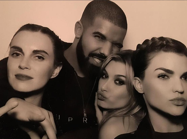 Drake, Hailey Baldwin and Ruby Rose