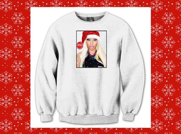 the barbz are sure to go crazy for this nicki minaj christmas sweater