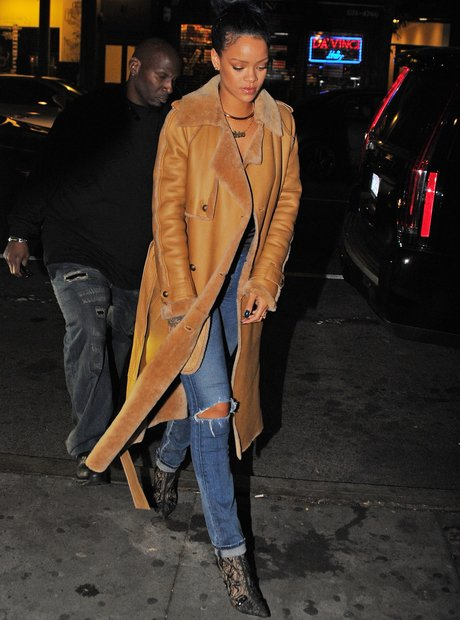rihanna wearing a long coat in New York