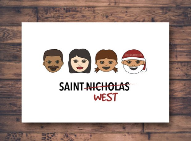 Saint West Christmas card