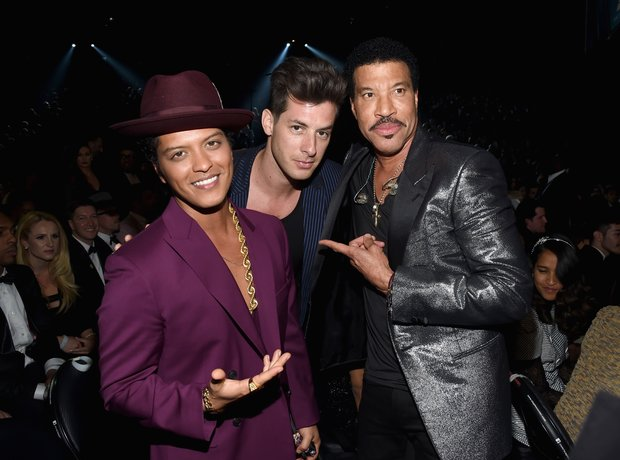 Bruno Mars, Mark Ronson and Lionel Richie Grammy A