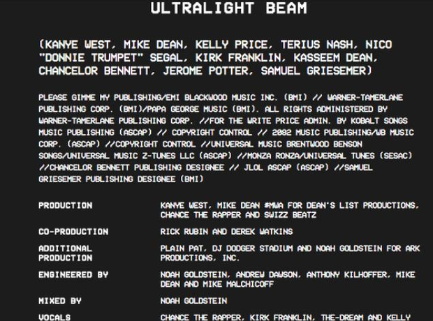 Kanye West releases TLOP credits
