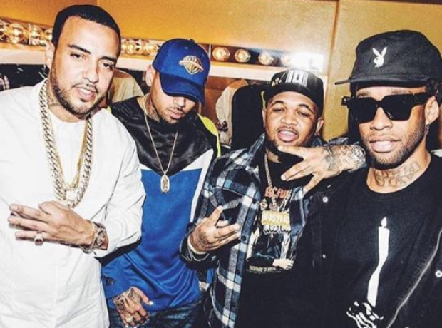 French Montana Chris Brown Ty Dolla Sign in a room