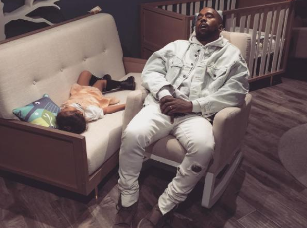 Kanye West and North West sleeping