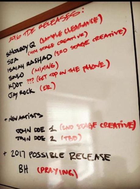 TDE release schedule on whiteboard