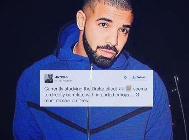 Drake in blue jacket