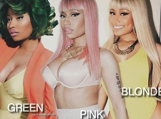 Nicki Minaj with different colour hair