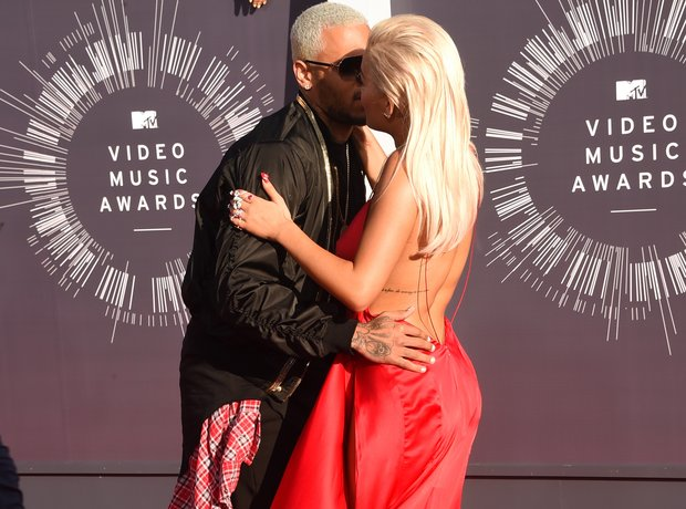 Rita Ora and Chris Brown getting close red carpet