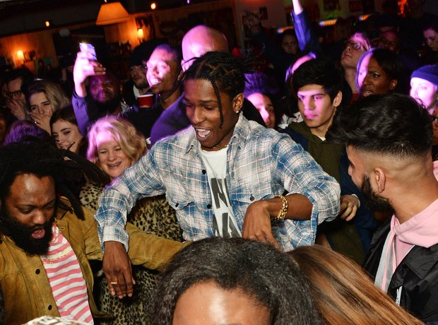 A$AP Rocky attend the launch of GUESS Originals