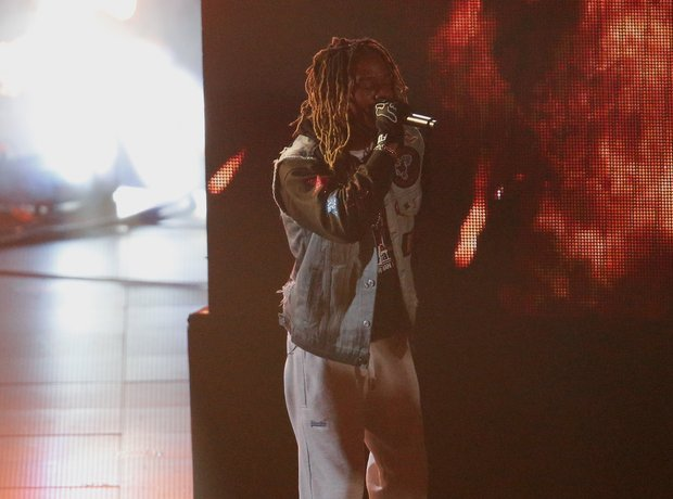 Fetty Wap performing on stage at iHeartRadio 2016