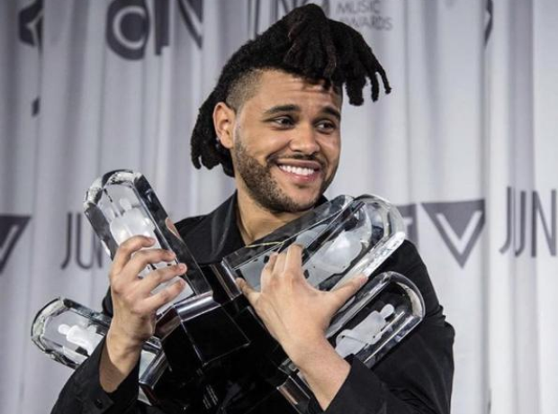 The Weeknd holding award