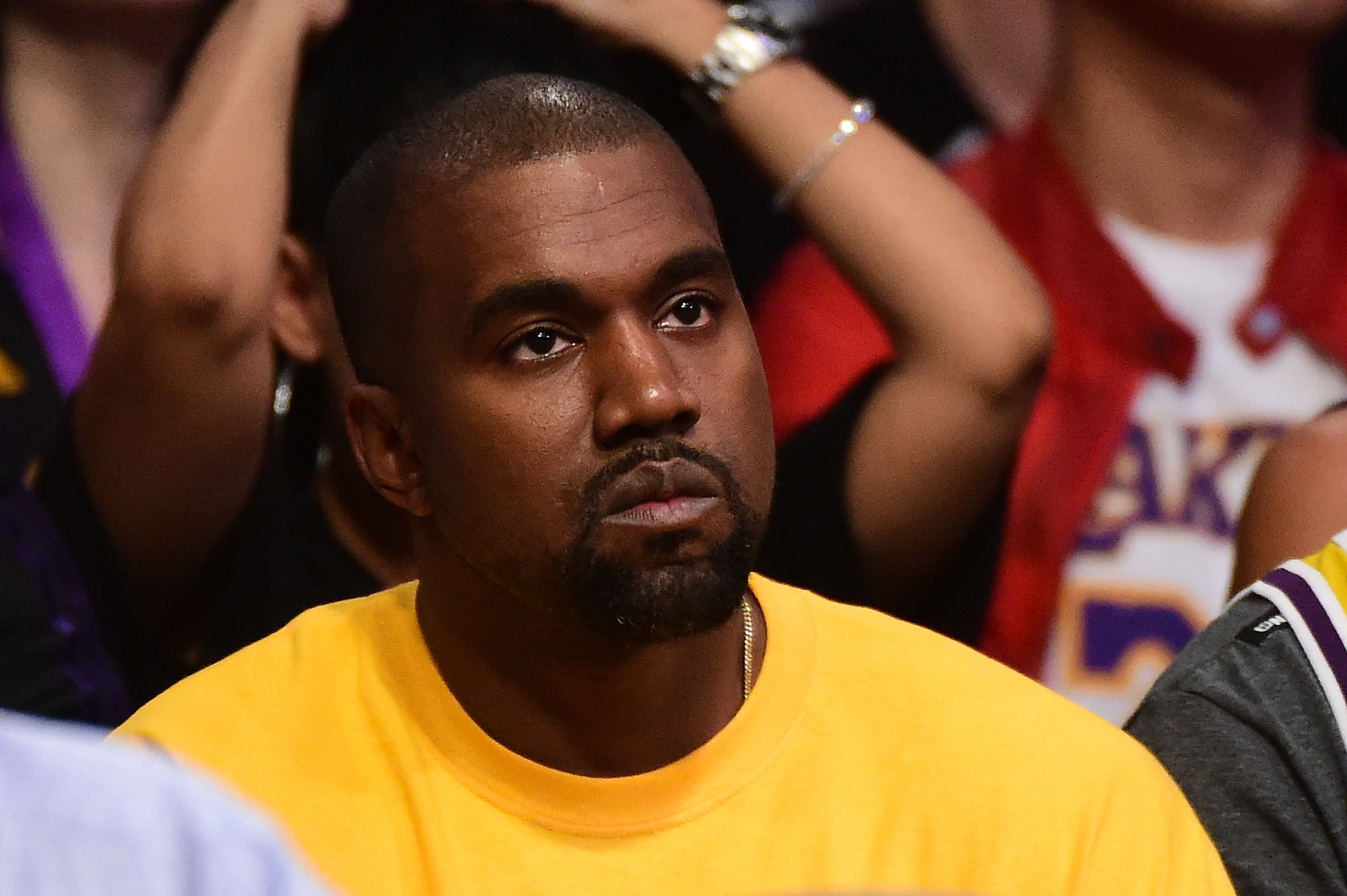 Kanye West attends LA Lakers game