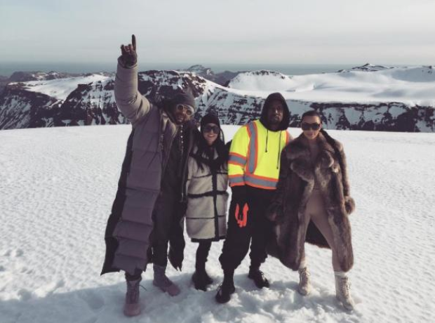 Kanye West and Kardashians on Ski slope