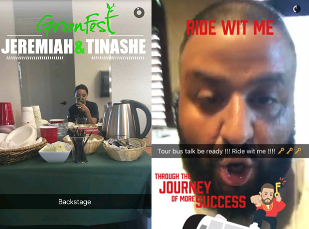 DJ Khaled and Tinashe snapchat geofilters