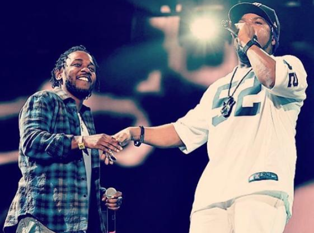 Kendrick Lamar and Ice Cube on stage