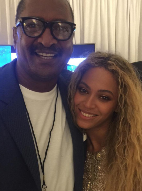 Beyonce and her Dad backstage