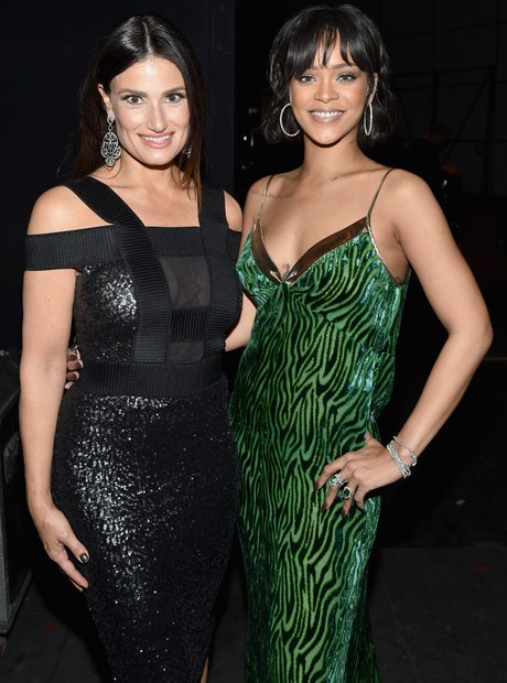 Actress/singer Idina Menzel (L) and singer Rihanna