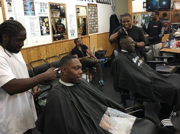 Stormzy and Dizzee Rascal in barbershop