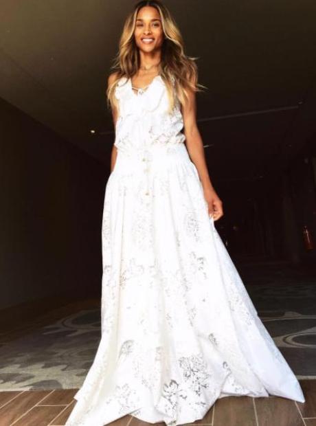 Ciara wearing Cavalli wedding rehearsal dress