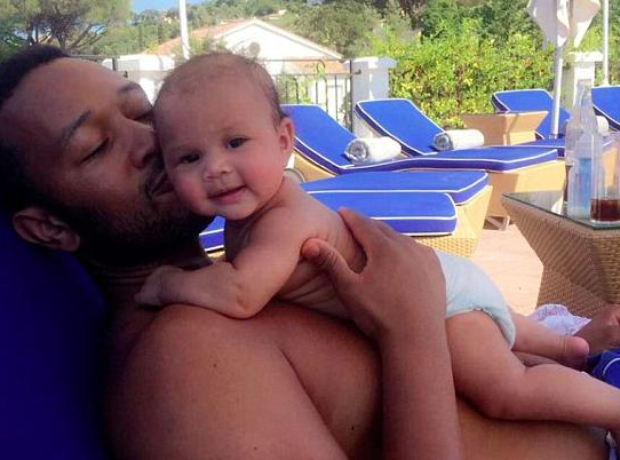 John Legend and baby Luna enjoy cuddles