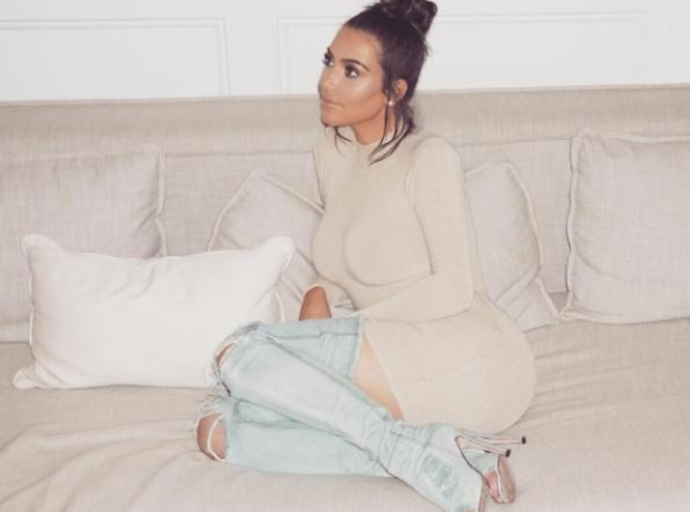 Kim Kardashian wearing Yeezy boots