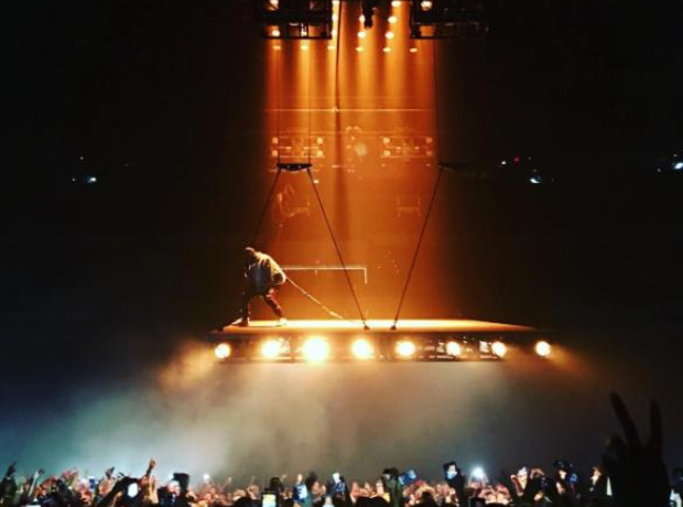 Kanye West on a flying stage