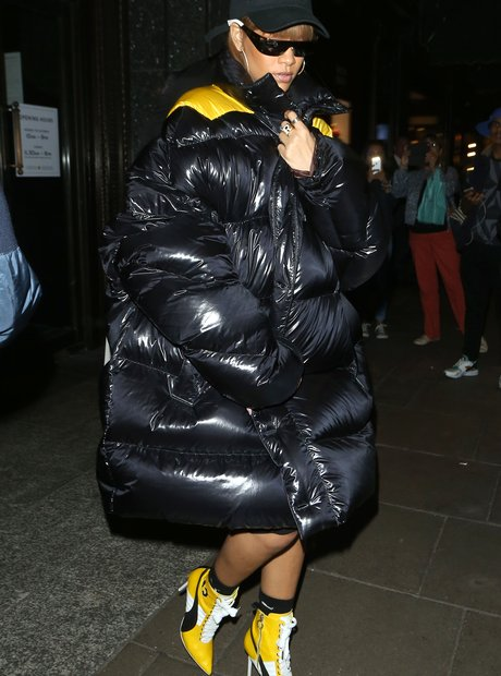 Rihanna in puff jacket