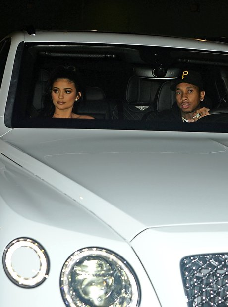 Kylie Jenner and boyfriend Tyga in Bentley