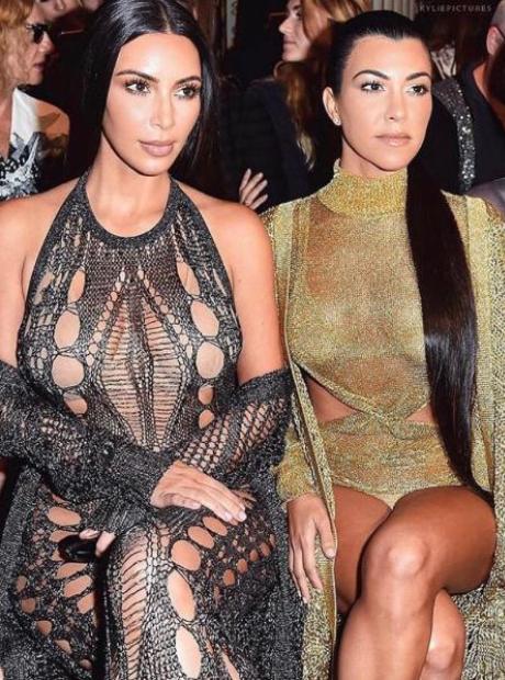 kim kourtney kardashian balmain fashion show
